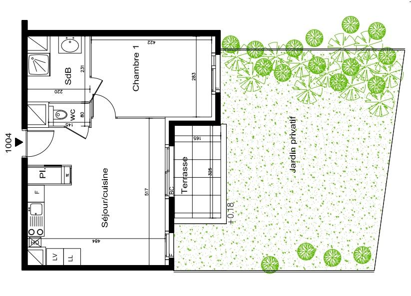 Offres programmes neufs appartement type 2 de 41m avec for Location garage villeurbanne gratte ciel